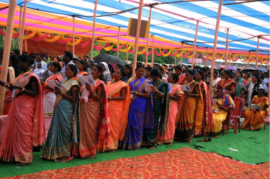 Hymns are sung in local languages, particularly Bhojpuri.