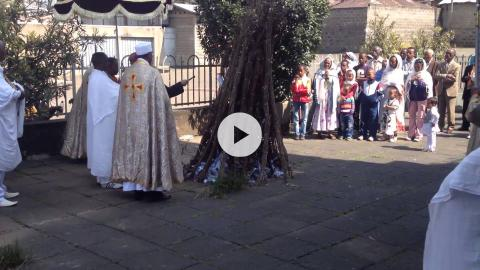 Meskel celebration at Nativity Cathedral, Ethiopia